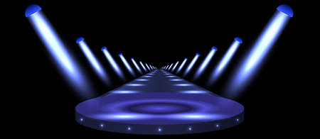Podium, road, pedestal or platform illuminated by spotlights on black background. Stage with scenic lights. Vector illustration.