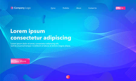 Asbtract background website Landing Page. Template for websites, or apps. Modern design.Blue. Abstract vector style
