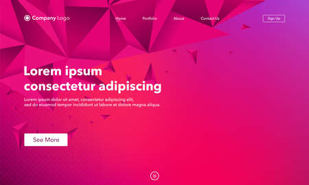 Abstract background with triangles, website Landing Page. Template for websites, or apps. Modern design. Abstract vector style Vettoriali