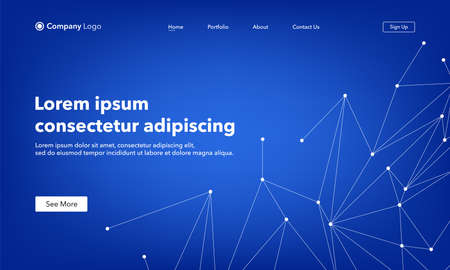 Landing Page abstract background website. Connection structure. Blue. Template for websites, or apps. Low poly, Molecule And Communication. Modern design. Abstract vector style Vettoriali