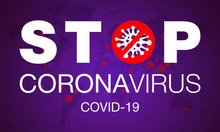 Coronavirus. Stop. Covid-19. Map. No Infection. Dangerous Coronavirus Cell. Bacteria. Caution. Outbreak. Pandemic medical concept. Isolated Vector Icon, Illustration.