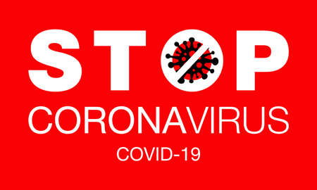 Coronavirus. Stop. Covid-19. No Infection. Dangerous Coronavirus Cell. Bacteria. Caution. Outbreak. Pandemic medical concept. Isolated Vector Icon, Illustration.