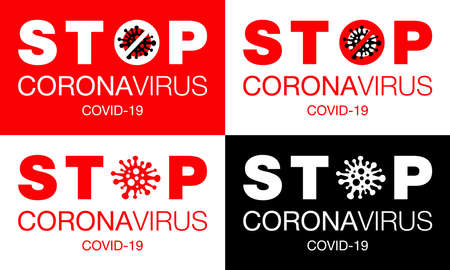 Coronavirus. Stop. Covid-19. Set. No Infection. Dangerous Coronavirus Cell. Bacteria. Caution. Outbreak. Pandemic medical concept. Isolated Vector Icon, Illustration.