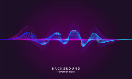 Music abstract background. Digital technology equalizer. Sound wave pattern element. Pulse. Cardiogram. Particles equalizer sound wave big data design. Dynamic light flow. Vector illustration 向量圖像