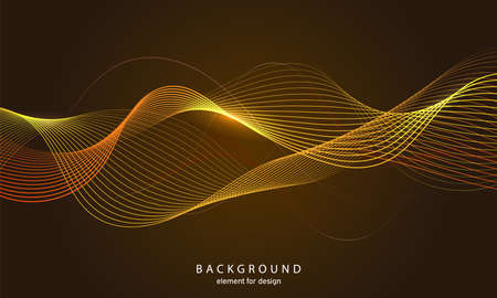 Abstract wave background. Element for design. Digital frequency track equalizer. Stylized line art. Colorful shiny wave with lines created using blend tool. Curved wavy line smooth stripe Vector illustration.