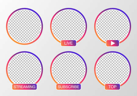 Social media avatar set. User icon, stories, LIVE video, streaming. Colorful gradient. 向量圖像