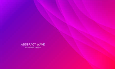 Abstract wave element for design. Pink. Digital frequency track equalizer. Stylized line art background. Colorful shiny wave with lines created using blend tool. Curved wavy line, smooth stripe. Vector illustration Illustration
