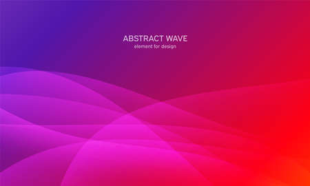 Abstract wave element for design. Pink. Digital frequency track equalizer. Stylized line art background. Colorful shiny wave with lines created using blend tool. Curved wavy line, smooth stripe. Vector illustration 向量圖像