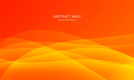 Abstract wave element for design. Orange.Digital frequency track equalizer. Stylized line art background. Colorful shiny wave with lines created using blend tool. Curved wavy line, smooth stripe Vector illustration 向量圖像
