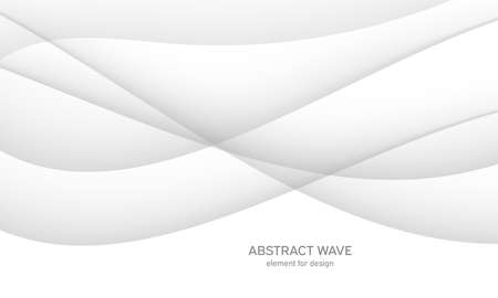 Abstract white background with smooth gray lines, waves. Modern and fashion. Gradient geometric. Vector illustration