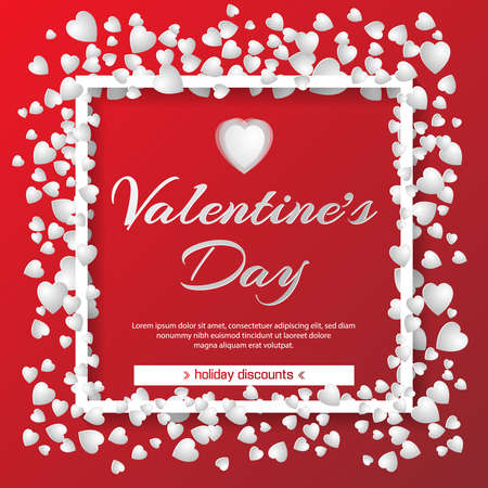 Valentines day sale red background with white hearts and frame. Vector illustration. Wallpaper, flyers, invitation, posters, brochure, banners. February 14