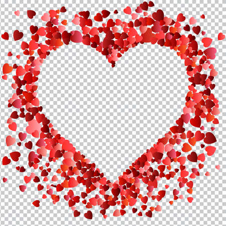 Valentines day Love. Decorative heart with many flying valentines hearts on transparent background. Vector illustration