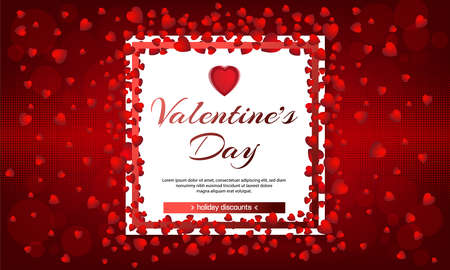 Valentines day. Sale. Red background with hearts and white frame. Vector illustration. Wallpaper, flyers, invitation, posters, brochure, banners. Chemistry of love. February 14. Ilustração