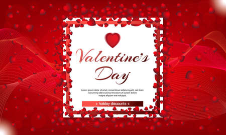 Valentines day sale red background with hearts and white frame. Vector illustration. Wallpaper, flyers, invitation, posters, brochure, banners. February 14