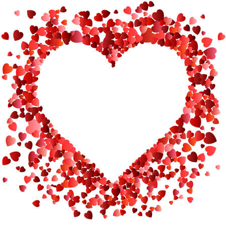 Valentines day Love. Decorative heart background with many flying valentines hearts. Vector illustration