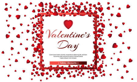 Valentines day sale background with heart and frame. Vector illustration. Wallpaper, flyers, invitation, posters, brochure, banners. February 14