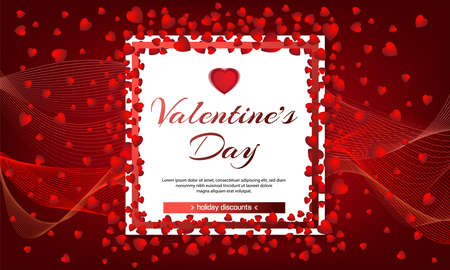 Valentines day sale red background with hearts and white frame. Vector illustration. Wallpaper, flyers, invitation, posters, brochure, banners. Chemistry of love. February 14 Ilustração
