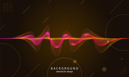 Music abstract background. Digital technology equalizer. Sound wave pattern element. Pulse. Cardiogram. Particles equalizer sound wave big data design. Dynamic light flow. Vector illustration Ilustração