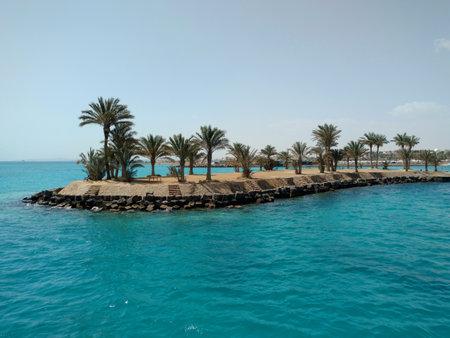 Beautiful view sea and Palm Tree island