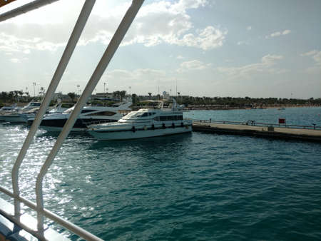 Cruise ship empty open deck. Sea view.