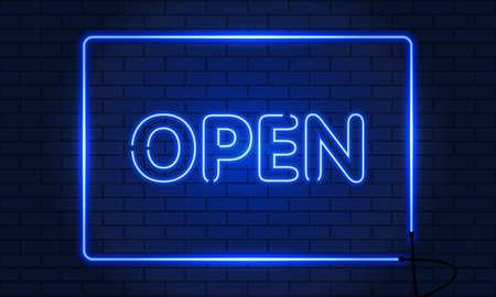 Retro club inscription Open. Vintage electric signboard with bright neon lights. Blue light falls on a brick background. Vector