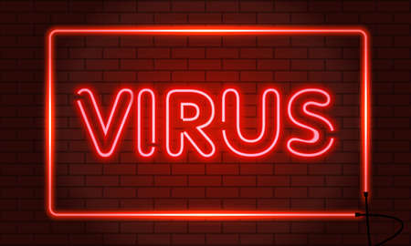 Neon sign virus in a frame on brick wall background. Red. Vector illustration