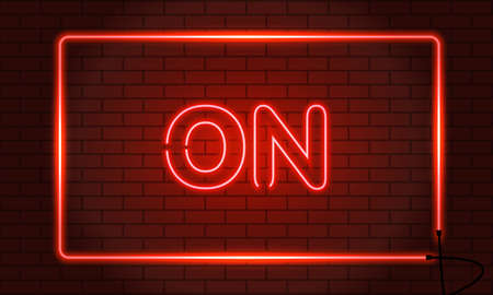 Neon sign ON in a frame on brick wall background. Red. Vector illustration