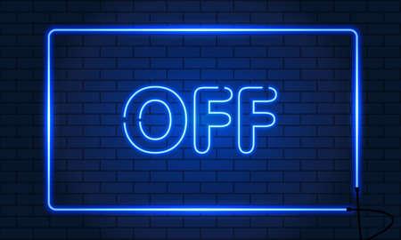Neon sign OFF in a frame on brick wall background. Blue. Vector illustration Ilustração