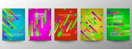 Cover geometric minimal. Set. Vector abstract line pattern for poster design. Set of templates for business brochures. Cool gradients. Graphic pattern for annual album backdrop
