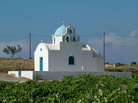 chappel: Orthodox church on the Island of Santorin in Greece Stock Photo