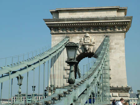 the danube: River Danube in Budapest with the Sz�chenyi Chain Bridge Stock Photo