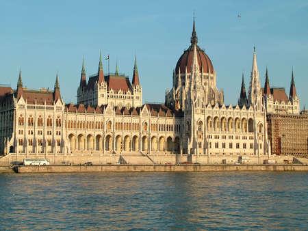 the danube: Budapest Parliament along the river Danube Stock Photo