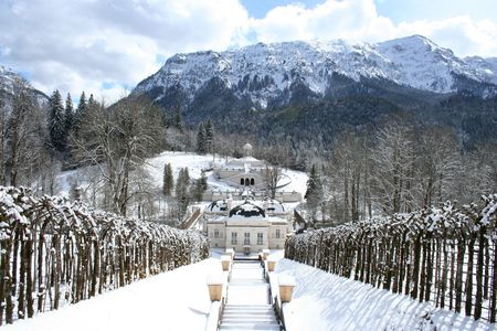 king neptune: King Ludwigs castle linderhof in winter Stock Photo