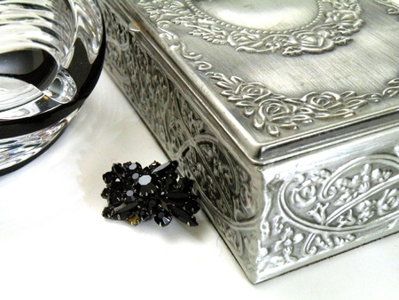 Jewellery for women in the metal cover and a closed lid state photo