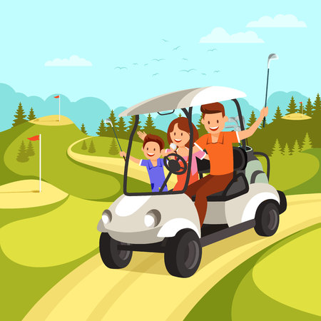 Happy Family with Golf Clubs goes by Golf Car on Golf Course. Family leisure. Vector illustration.