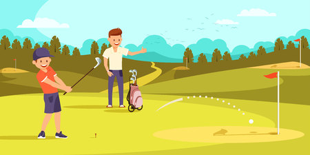 Joyful Boy is Hitting Ball with Golf Clubs, Aiming at Hole. Happy Father Showing Thumbs Up on Golf Course. Vector illustration. Family Leisure. Foto de archivo - 100586093