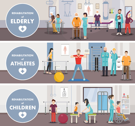 Rehabilitation centerof eldery athletes children. Vector image. Isometric banner. Illustration