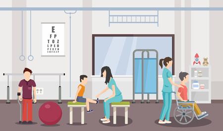 Revalidatiecentrum voor kinderen. Vector afbeelding. Help kinderen met een handicap.