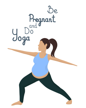 Pregnant girl engaged yoga. Vector image. White background. Vectores