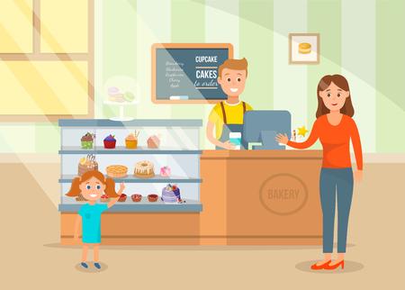 Cartoon Happy Mom and Little Daughter Choose Cake in Pastry Bakery Shop Pattern Vector Illustration Dessert Concept. Ilustração