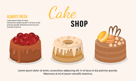 Vector illustration of fresh cakes set with chocolate filling decorated with macaroons, berries and nuts. Dessert concept. Cake shop.