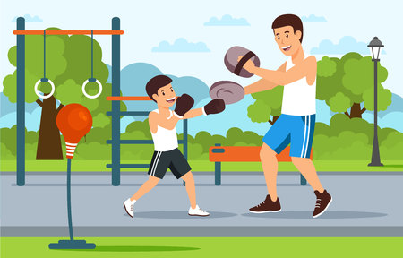 Cartoon father in boxer shorts on playground teaches son boxing. City in background.