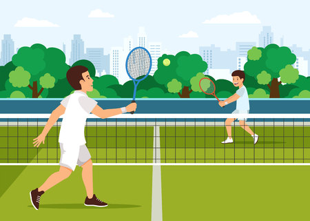 Cartoon father plays with son in tennis on tennis court. City in background.Active leisure concept. Illustration
