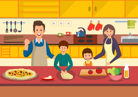 Happy cartoon family cooks pizza in kitchen. People prepare Italian food. Vector illustration. Clipart. Flat style.