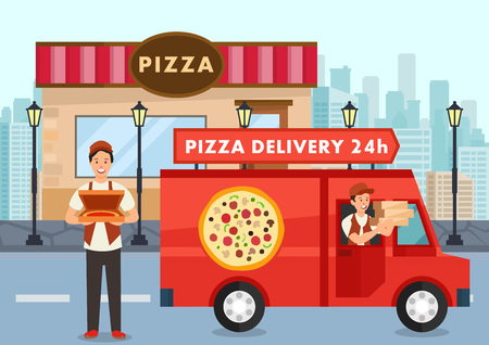 Cartoon pizza courier on truck carries pizza order. Service delivery pizza concept. Pizzeria. Pizzaiolo keeps box with pizza. Vector illustration. Clipart.