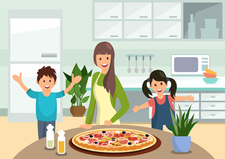 Cartoon mother feeds children with cooked pizza in kitchen. Family lunch.Vector illustration. Clipart. Flat style. Ilustração
