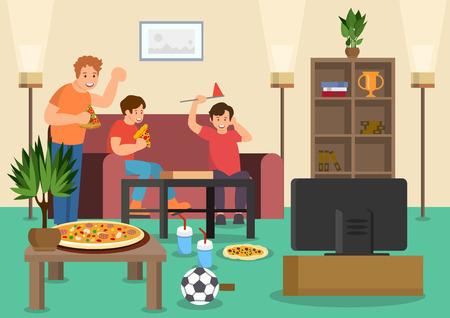 Cartoon vrienden fans eten pizza kijken naar voetbalwedstrijd op tv. Vector illustratie. Clip art. Vlakke stijl. Vector Illustratie