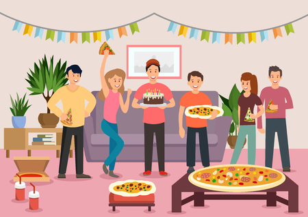 Cartoon group of cheerful people eating pizza at birthday party. Celebration. Vector illustration. Clipart. Flat style.
