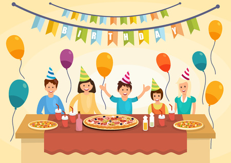 Cartoon happy family is eating pizza for birthday celebrations. Pizza time. Fast food lifestyle. Vector illustration. Clipart. Flat style.