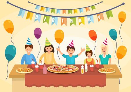 Familia feliz de dibujos animados está comiendo pizza para celebraciones de cumpleaños. Hora de pizza. Estilo de vida de comida rápida. Ilustración vectorial. Clipart. Estilo plano.